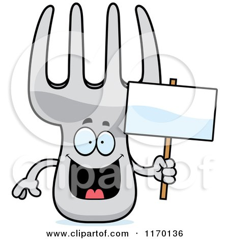 Cartoon of a Happy Fork Mascot Holding a Sign - Royalty Free Vector Clipart by Cory Thoman
