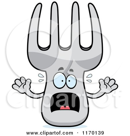 Cartoon of a Screaming Fork Mascot - Royalty Free Vector Clipart by Cory Thoman