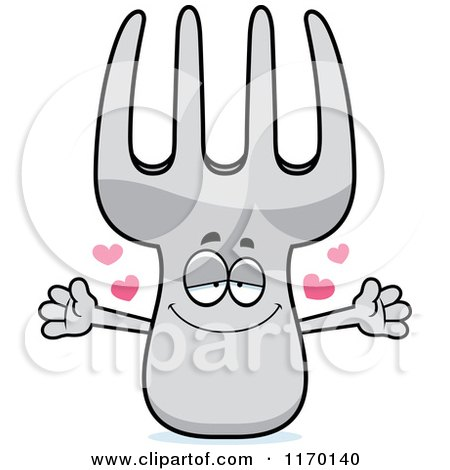 Cartoon of a Loving Fork Mascot with Open Arms - Royalty Free Vector Clipart by Cory Thoman