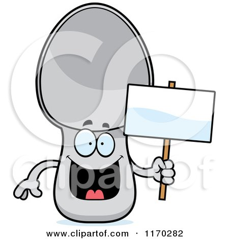 Cartoon of a Happy Spoon Mascot Holding a Sign - Royalty Free Vector Clipart by Cory Thoman