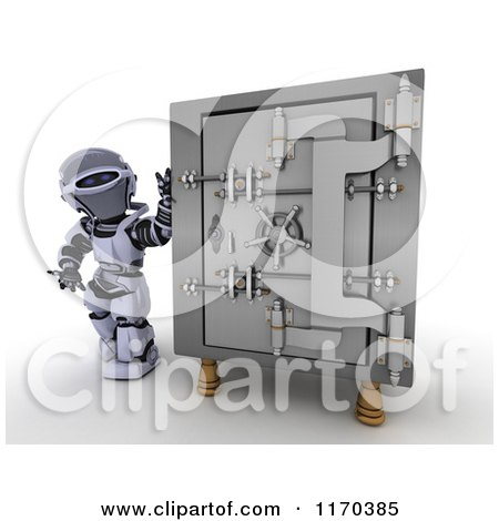 Clipart of a 3d Robot Standing by a Vault Safe - Royalty Free CGI Illustration by KJ Pargeter