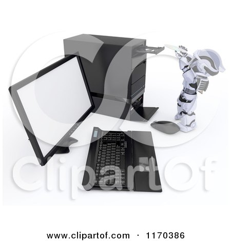 Clipart of a 3d Robot Inserting a Software Cd into a Desktop Computer Tower - Royalty Free CGI Illustration by KJ Pargeter