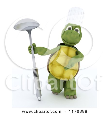 Clipart of a 3d Tortoise Chef Presenting a Ladle - Royalty Free CGI Illustration by KJ Pargeter