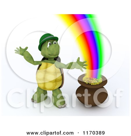 Clipart of a 3d Tortoise Leprechaun by a Pot of Gold at the End of the Rainbow - Royalty Free CGI Illustration by KJ Pargeter