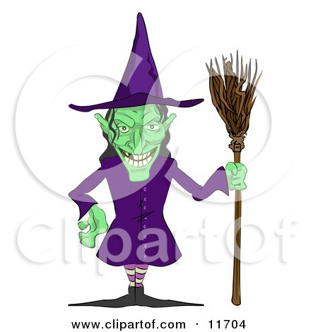 Ugly Green Witch With a Broom Posters, Art Prints