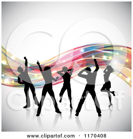 Clipart of Silhouetted Dancers over Colorful Waves on Gray - Royalty Free Vector Illustration by KJ Pargeter