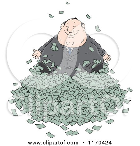 Cartoon of a Fat Wealthy Businessman in a Pile of Cash - Royalty Free Vector Clipart by Alex Bannykh