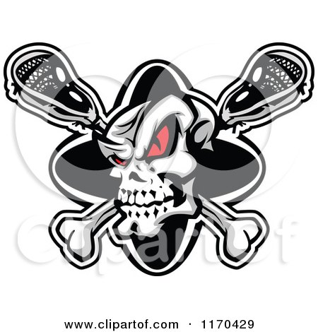Cartoon of a Red Eyed Lacrosse Skull over Sticks - Royalty Free Vector Clipart by Chromaco