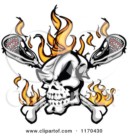 Cartoon of a Flaming Lacrosse Skull over Sticks - Royalty Free Vector Clipart by Chromaco