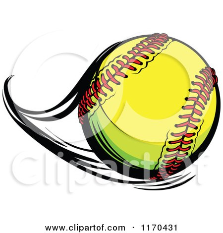 Cartoon of a Flast Flying Softball - Royalty Free Vector Clipart by Chromaco