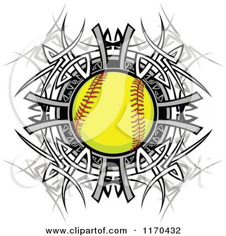 Cartoon of a Softball over a Tribal Circle - Royalty Free Vector Clipart by Chromaco