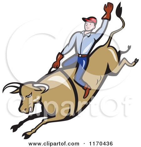 Clipart of a Cowboy Riding a Rodeo Bull with One Arm in the Air - Royalty Free Vector Illustration by patrimonio