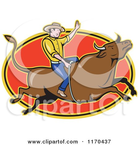 Clipart of a Cartoon Rodeo Cowboy on a Bull over a Red Oval - Royalty Free Vector Illustration by patrimonio