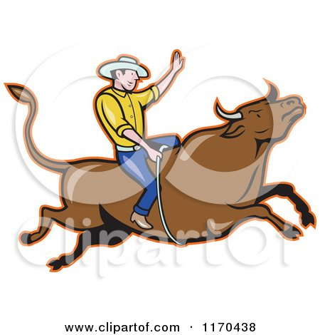 Clipart of a Cartoon Rodeo Cowboy on a Bull - Royalty Free Vector Illustration by patrimonio