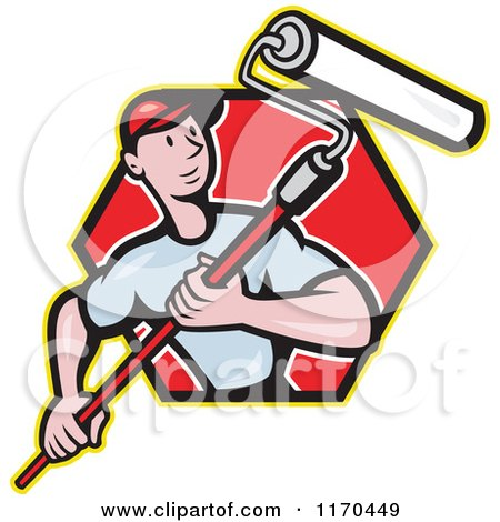 Clipart of a Cartoon Painter Man Using a Roller Brush in a Red Hexagon - Royalty Free Vector Illustration by patrimonio
