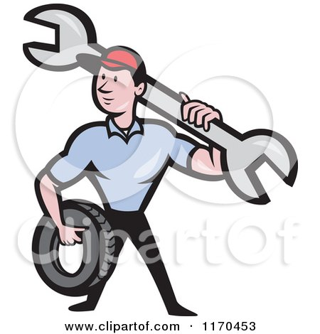 Clipart of a Cartoon Mechanic Worker Holding a Tire and Spanner Wrench - Royalty Free Vector Illustration by patrimonio