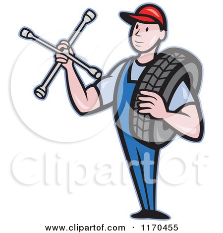 Clipart of a Cartoon Mechanic Worker Holding a Tire and Socket Wrench - Royalty Free Vector Illustration by patrimonio