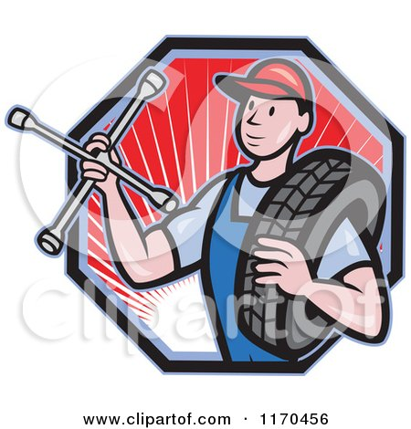 Clipart of a Cartoon Mechanic Worker Holding a Tire and Socket Wrench over a Hexagon with Rays - Royalty Free Vector Illustration by patrimonio