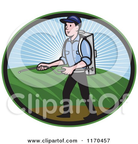 Clipart of a Pest Exterminator Worker Spraying Chemicals - Royalty Free Vector Illustration by patrimonio