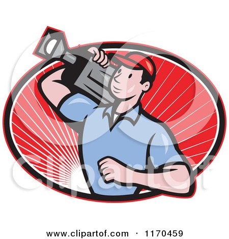 Clipart of a Cartoon Movie Camera Man Filming over an Oval of Red Rays| Royalty Free Vector Illustration by patrimonio