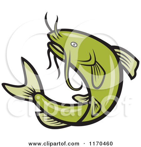 Clipart of a Jumping Green Catfish - Royalty Free Vector Illustration by patrimonio