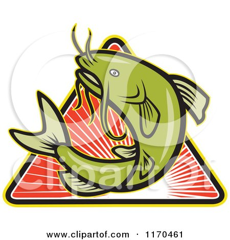 Clipart of a Jumping Green Catfish over a Triangle of Red Rays - Royalty Free Vector Illustration by patrimonio