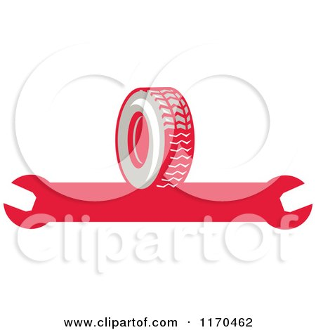 Clipart of a Rubber Tire and Spanner Wrench - Royalty Free Vector Illustration by patrimonio