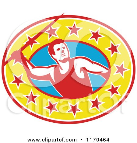 Clipart of a Retro Track and Field Javelin Thrower over a Star Oval - Royalty Free Vector Illustration by patrimonio