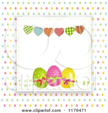 Clipart of a Heart Bunting over Easter Eggs Raised over Colorful Egg Dots - Royalty Free Vector Illustration by elaineitalia
