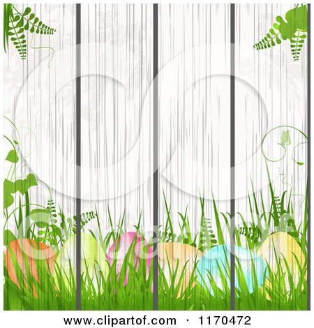 Clipart of a Painting of Easter Eggs Plants and Gress on a Wood Fence - Royalty Free Vector Illustration by elaineitalia