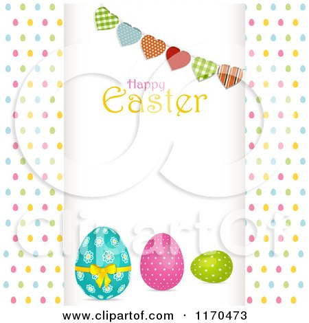 Clipart of a Heart Bunting and Happy Easter Text over Eggs Raised over Colorful Egg Dots - Royalty Free Vector Illustration by elaineitalia