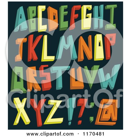 Cartoon of Colorful 3d Alphabet Letters on a Dark Background - Royalty Free Vector Clipart by yayayoyo