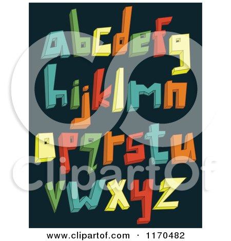 Cartoon of Colorful 3d Lowercase Alphabet Letters on a Dark Background - Royalty Free Vector Clipart by yayayoyo