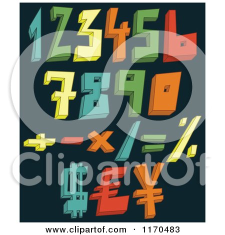 Cartoon of Colorful 3d Numbers and Symbols on a Dark Background - Royalty Free Vector Clipart by yayayoyo
