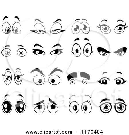 Cartoon of black and white pairs of eyes royalty free vector clipart