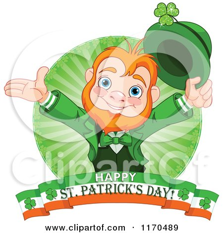 Cartoon of a Cheerful Leprechaun and Rays over an Irish Happy St Patricks Day Banner - Royalty Free Vector Clipart by Pushkin