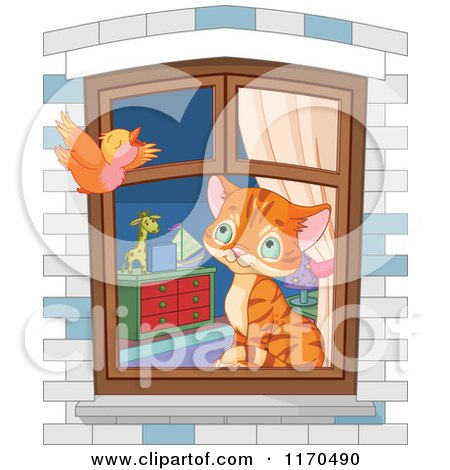 Cartoon of a Cute Ginger House Kitten Watching a Bird from a Window - Royalty Free Vector Clipart by Pushkin