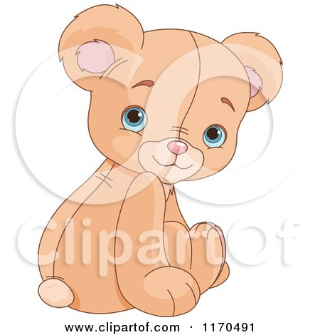 Cartoon of a Cute Sittin Teddy Bear Looking Back over His Shoulder - Royalty Free Vector Clipart by Pushkin