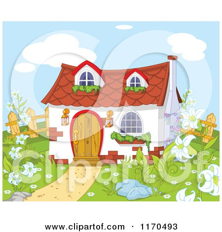 Cartoon of a Cute Gnome Cottage in a Garden - Royalty Free Vector Clipart by Pushkin
