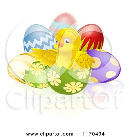 Cartoon of a Cute Chick in a Cracked Easter Egg - Royalty Free Vector Clipart by AtStockIllustration