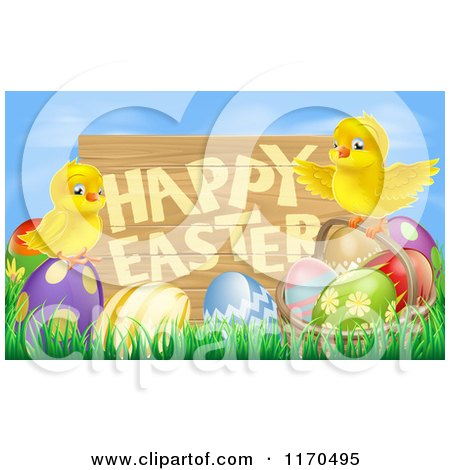 Cartoon of a Wooden Happy Easter Sign with Chicks and Easter Eggs Against Blue Sky - Royalty Free Vector Clipart by AtStockIllustration