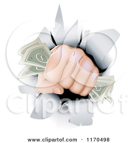 Cartoon of a Fist with Cash Punching Through a Wall - Royalty Free Vector Clipart by AtStockIllustration