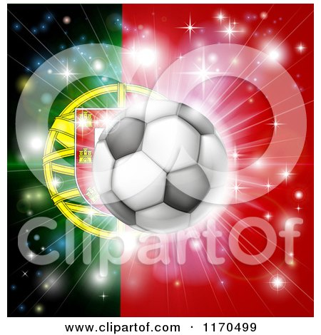 Clipart of a Soccer Ball over a Portugal Flag with Fireworks - Royalty Free Vector Illustration by AtStockIllustration
