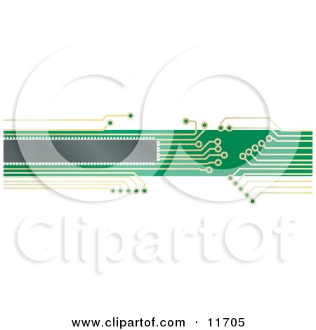Internet Web Banner of a Green and Yellow Circuit Board Clipart Illustration by AtStockIllustration