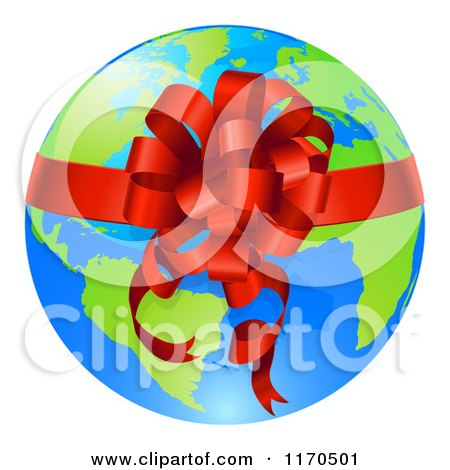 Clipart of a Bright Globe with a Red Ribbon and Bow - Royalty Free Vector Illustration by AtStockIllustration