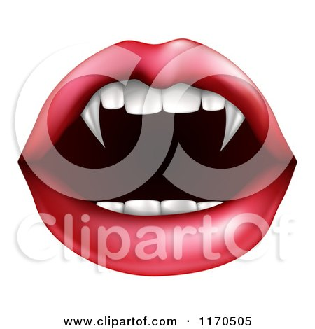 Clipart of a Female Mouth with Vampire Fangs - Royalty Free Vector Illustration by AtStockIllustration