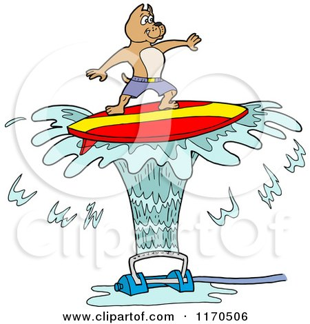 Cartoon of a Pitbull Dog Surfing on Sprinkler Spray - Royalty Free Vector Clipart by LaffToon