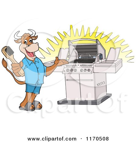 Cartoon of a Happy Cow Holding a Steel Brush and Presenting a Bbq Grill - Royalty Free Vector Clipart by LaffToon