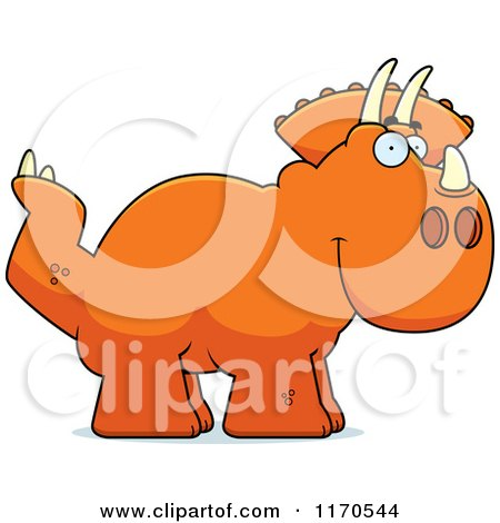 Cartoon of a Happy Triceratops Dinosaur - Royalty Free Vector Clipart by Cory Thoman