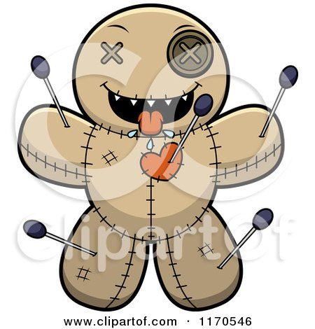 Cartoon of a Hungry Voo Doo Doll - Royalty Free Vector Clipart by Cory Thoman